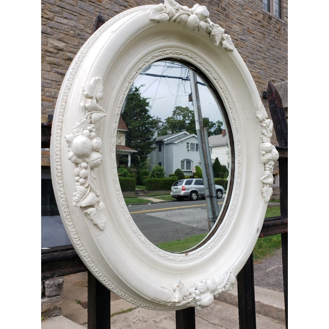 French Antique Shabby Chic Style Carved Wood Mirror For Sale - Image 3 of 12