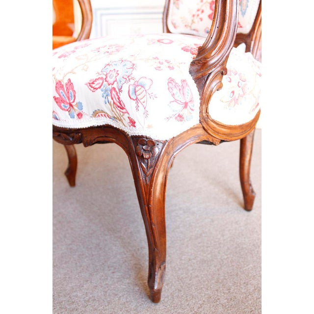 18th Century French Provincial French Louis XV Fauteuil Arm Chairs - a Pair For Sale - Image 6 of 10