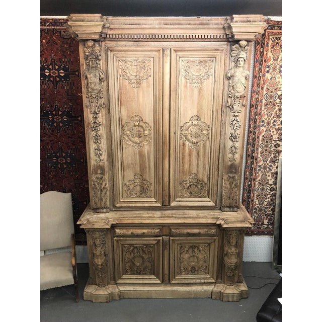 19th Century Monumental French Renaissance Figural Carved Oak Bookcase For Sale - Image 12 of 12