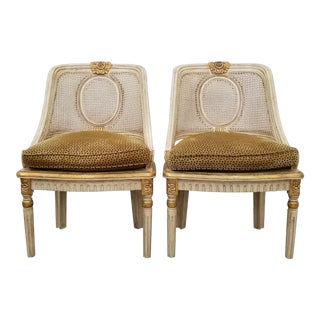 French Century Furniture Carved Wood and Cane Accent Chairs - a Pair For Sale
