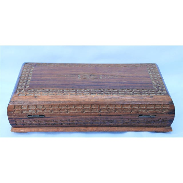 1980s Vintage Carved Wooden Footed Jewelry Box For Sale - Image 5 of 10