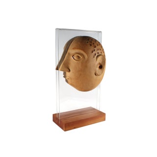 David Gil Bennington Potters Split Head Stoneware Sculpture For Sale