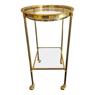 Brass Hollywood Regency Bagues Style Serving Wagon or Tray Table or Bar Cart For Sale