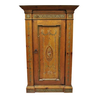 Habersham French Adams Style Paint Decorated Storage Cabinet Cupboard Bookcase For Sale