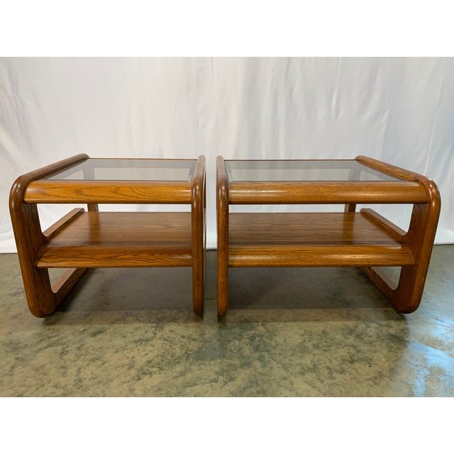 Lou Hodges 1970s Mid-Century Modern Lou Hodges Oak and Smoked Glass End Tables -- Set of 2 For Sale - Image 4 of 12