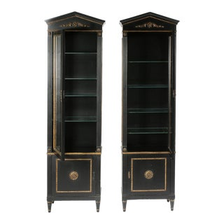 Pair Mid 20th Century Gilt Wood Ebonised Cabinets / Vitrines For Sale
