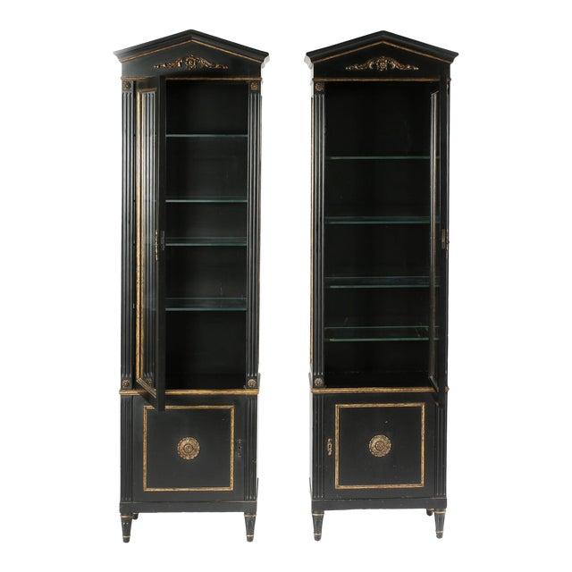Pair Mid 20th Century Gilt Wood Ebonised Cabinets / Vitrines For Sale