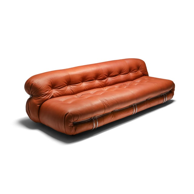 1970s Cassina Soriana Cognac Leather Sofa by Afra and Tobia Scarpa For Sale - Image 11 of 11