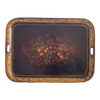 Victorian Hand Painted English Tole Tray For Sale