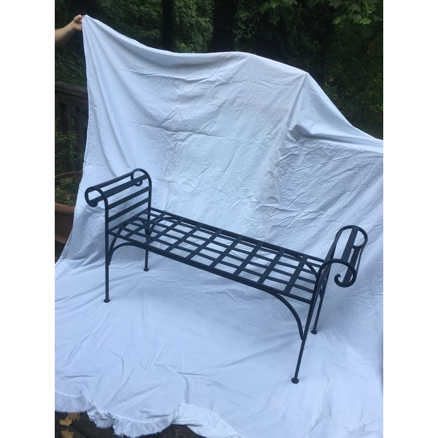 Metal 1990s Boho Chic Lattice Wrought Iron Backless Bench For Sale - Image 7 of 7