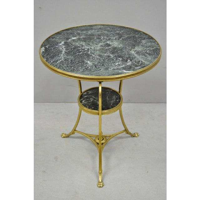 French 20th Century French Bronze Neoclassical Round Green Marble Top Gueridon Table For Sale - Image 3 of 13