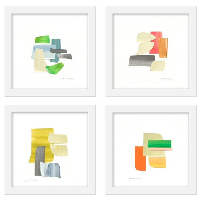 "Set of 4 giclée prints on textured fine art paper with white frames. Set of 4 measures 40""x40""; individual framed print..."