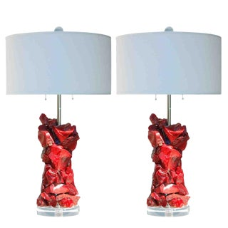 Glass Rock Table Lamps by Swank Lighting Red - a Pair For Sale