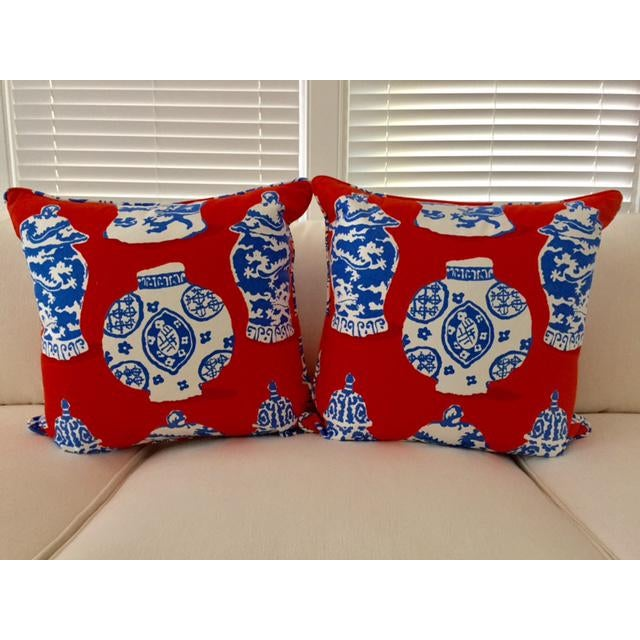 Dana Gibson Persimmon Red, White & Blue Pillows- A Pair - Image 2 of 7