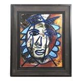 """Image of 1980s Peter Keil """"Blue Hat"""" Painting For Sale"""