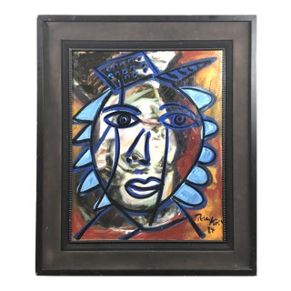 """1980s Peter Keil """"Blue Hat"""" Painting For Sale"""
