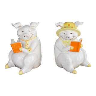 Vintage Fitz & Floyd Smiling, Sitting Piggy Bookends - a Pair For Sale