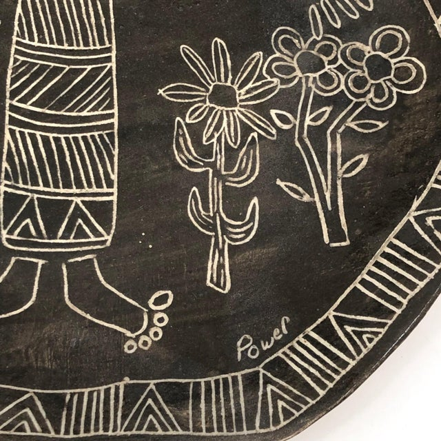 Slab Pottery Plate With Sgraffito Earth Mother and Flowers For Sale In Boston - Image 6 of 13
