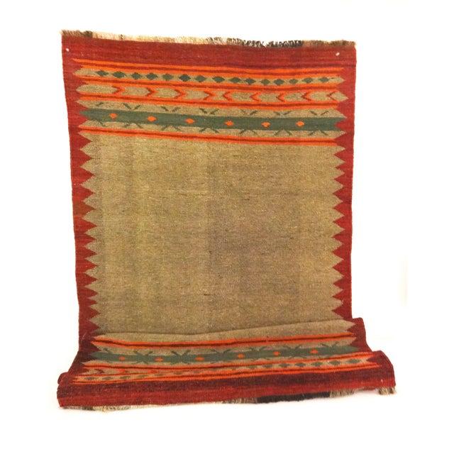 "Hand-Woven Wool Kilim Runner - 3'2"" x 9' - Image 1 of 4"