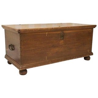 Large English Traditional Primitive Trunk For Sale