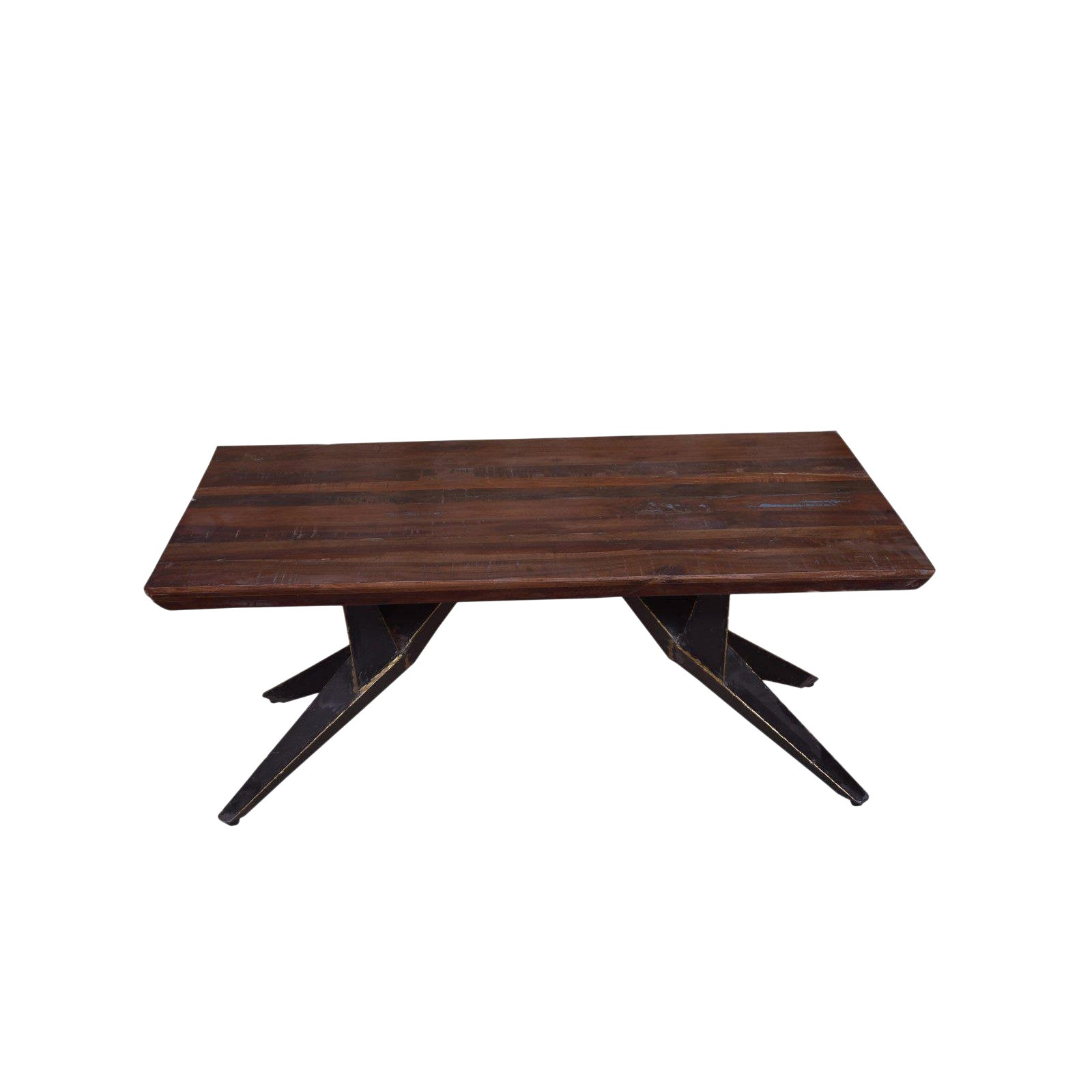 Faunia Coffee Table With Iron Legs Living Room Wooden Top