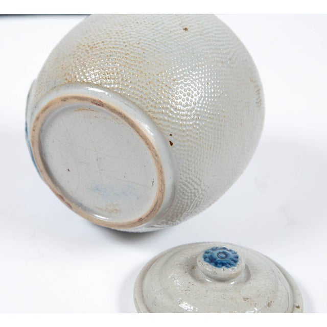 White 19th Century Blue Glaze Stoneware Covered Jar For Sale - Image 8 of 9