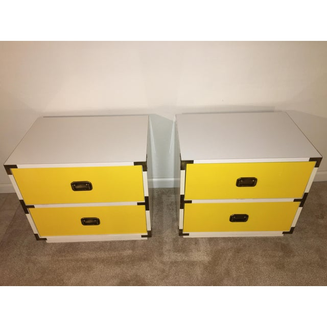 White 1970s Mid-Century Modern Campaign Nightstand-a Pair For Sale - Image 8 of 12
