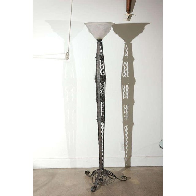 French Art Deco Wrought Iron Tripod Base Floor Lamp For Sale - Image 12 of 12