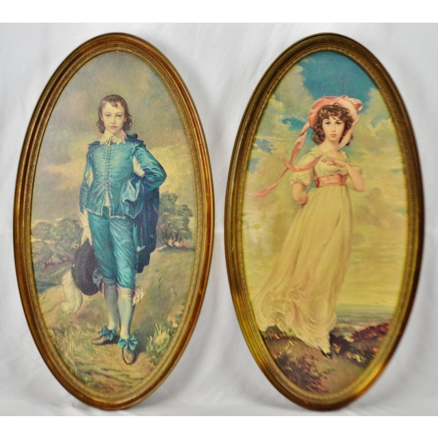 Vintage Framed Large Scale Pinkie & Blue Boy Prints on Board - A Pair Condition consistent with age and history. Some...