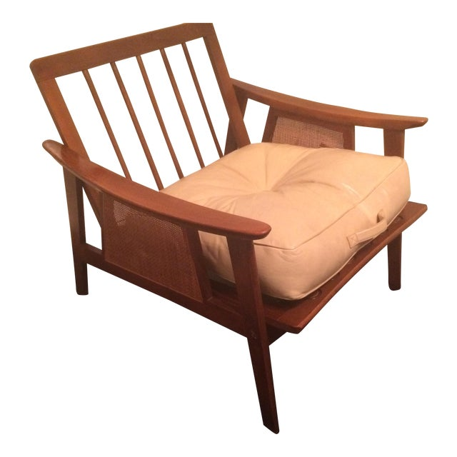 Mid-Century Low-Slung Wood Arm Chair For Sale