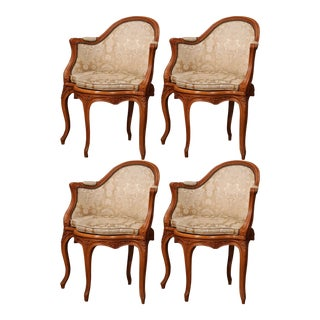 Set of Four Early 20th Century French Louis XV Carved Walnut Desk Armchairs For Sale