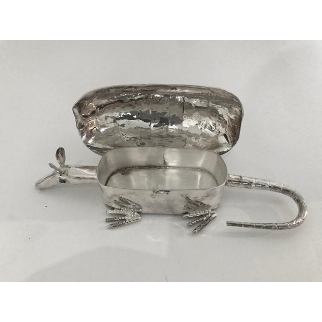 20th Century Figurative Silver Armadillo Form Lidded Box With Abalone Shell For Sale - Image 4 of 7