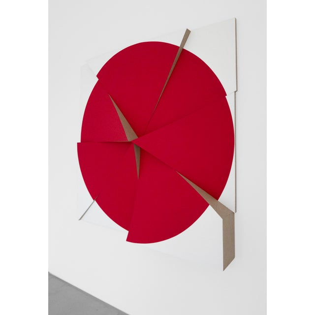 Abstract Jan Maarten Voskuil, 'Roundtrip Pointless Permanent Red,' 2018, Acrylics on Linen, 59 X 59 X 7.75 Inches For Sale - Image 3 of 5