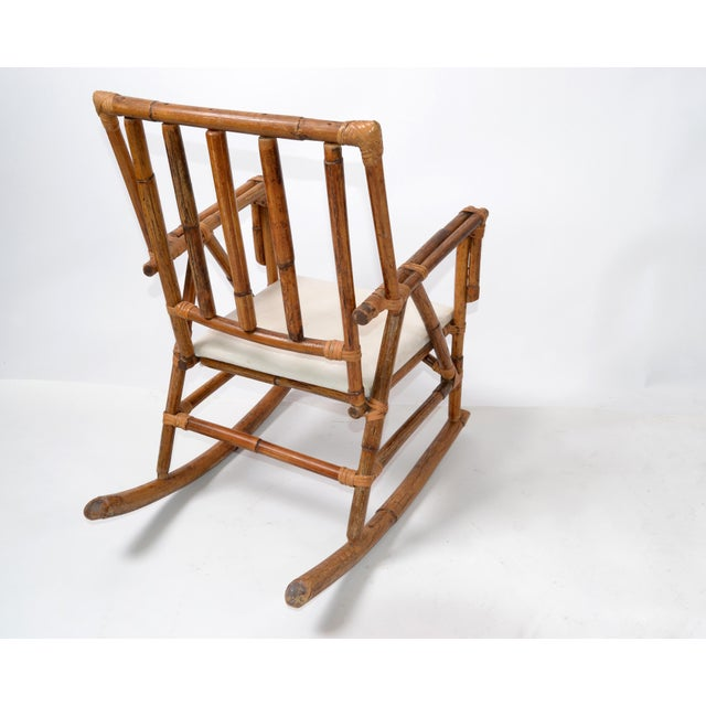 1970s Mid-Century Modern Boho Style Bamboo & Vinyl Children Rocking Chair For Sale - Image 5 of 13