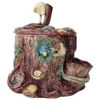 19th Century Victorian Majolica Palissy Tobacco Jar For Sale