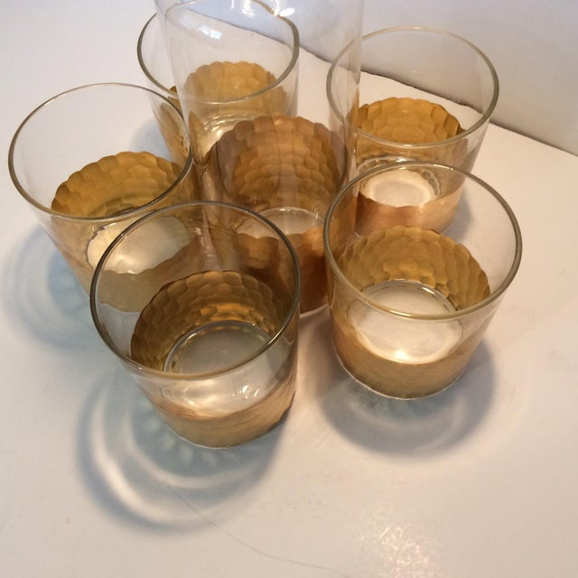 Crystal Fitz & Floyd Gold Scalloped Crystal Bourbon Set For Sale - Image 7 of 11