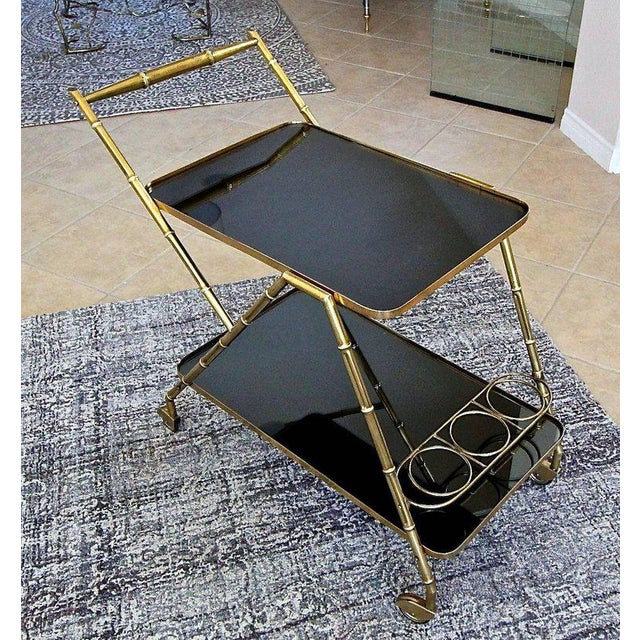 Asian Italian Brass Faux Bamboo Bar Tea Cart For Sale - Image 3 of 13