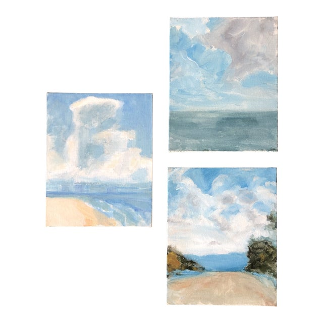 Gallery Wall Collection 3 Contemporary Impressionist Seascape Paintings Set of 3 For Sale