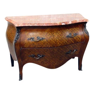 Louis XV Style Marble Top Parquetry Commode For Sale