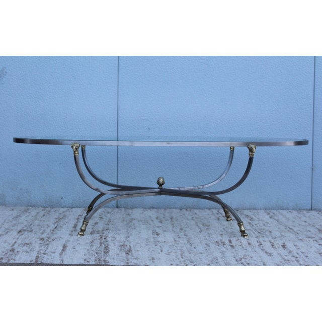 Gold Steel and Brass Rams Head Oval Italian Coffee Table For Sale - Image 8 of 13