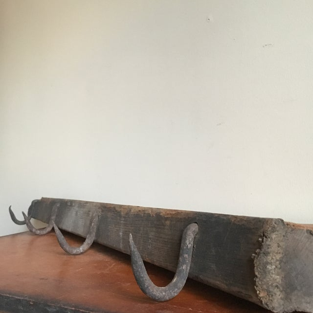 Industrial Wooden Beam & Iron Hooks - Image 4 of 8
