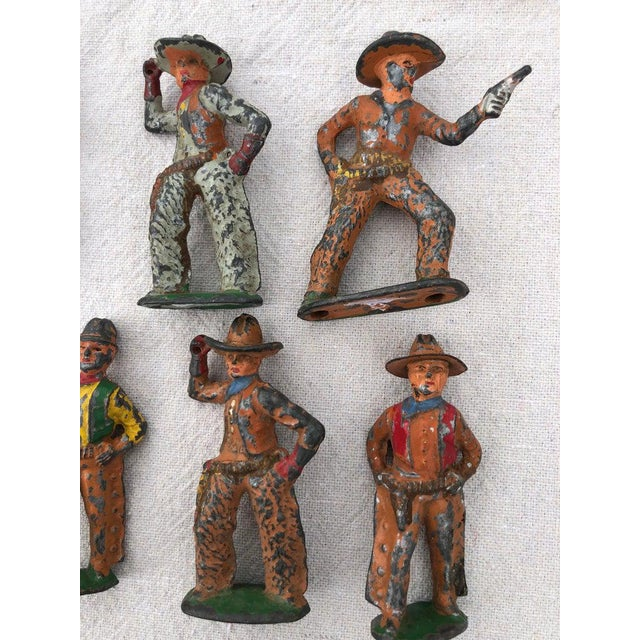1950 Antique Lead Toy Cowboys - Set of 7 For Sale - Image 4 of 9
