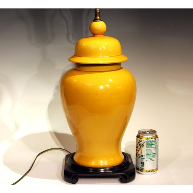 Japanese Vintage Large Japanese Crackle Glaze Yellow Zen Temple Jar Pottery Table Lamp For Sale - Image 3 of 13