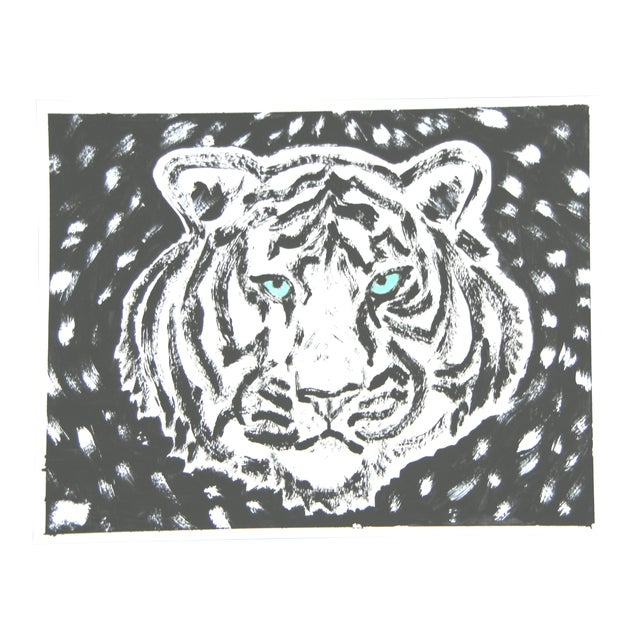White Tiger on Black Painting by Cleo Plowden For Sale