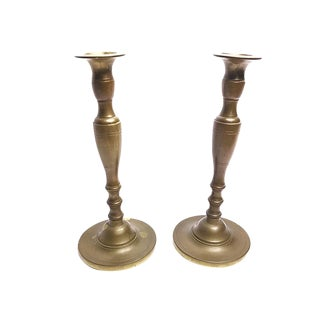 Vintage Mid-Century Tall Solid Brass Candlesticks - a Pair
