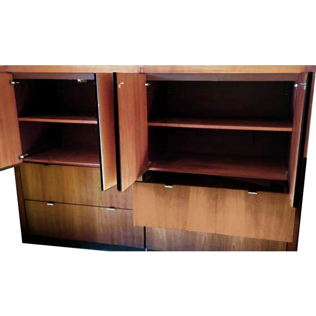 Danish Modern 1970s Danish Modern Dillingham Walnut Conjoined Twin Enclosed Storage Cabinets - a Pair For Sale - Image 3 of 13