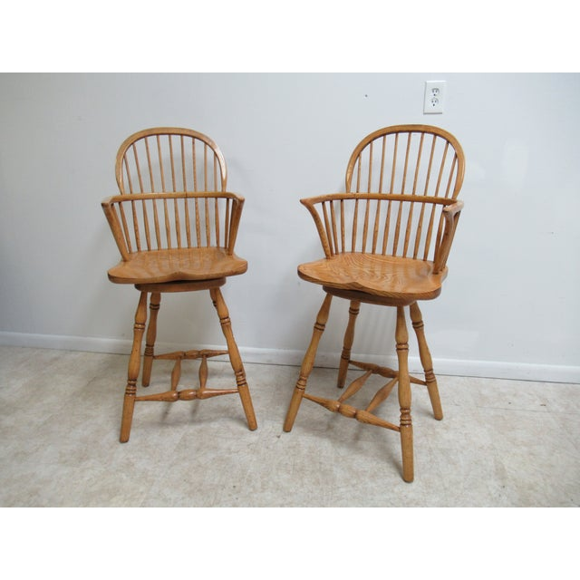 Custom Saddle Seat Oak Carved Windsor Bar Counter Height Stools - a Pair