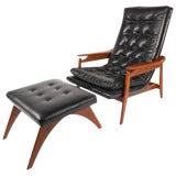 Image of Mid-Century Modern Tufted Vinyl Lounge Chair and Ottoman For Sale