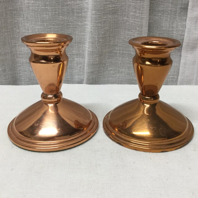 Mid 20th Century Mid-Century Copper Candle Holders - a Pair For Sale - Image 5 of 5