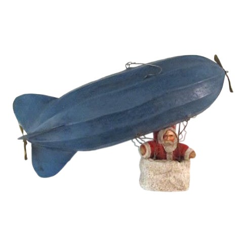 Antique German Santa in Basket on Zeppelin Christmas Ornament For Sale